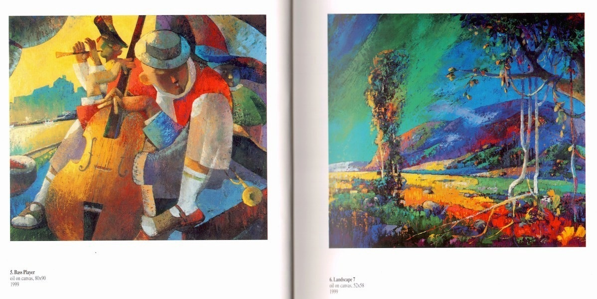 009.Bass player and Landscape7.Painting by Nugzar Kahiani