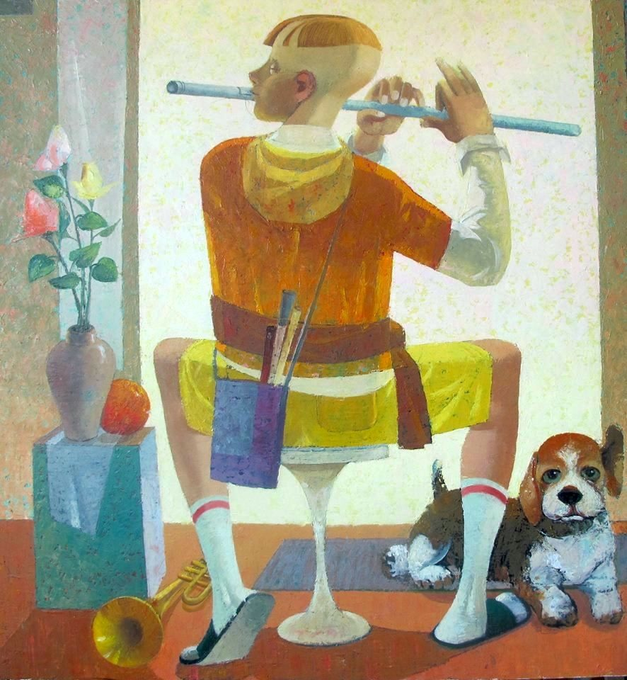 84. Playing a flute | Игра на флейте, canvas, oil, Nugzar Kahiani